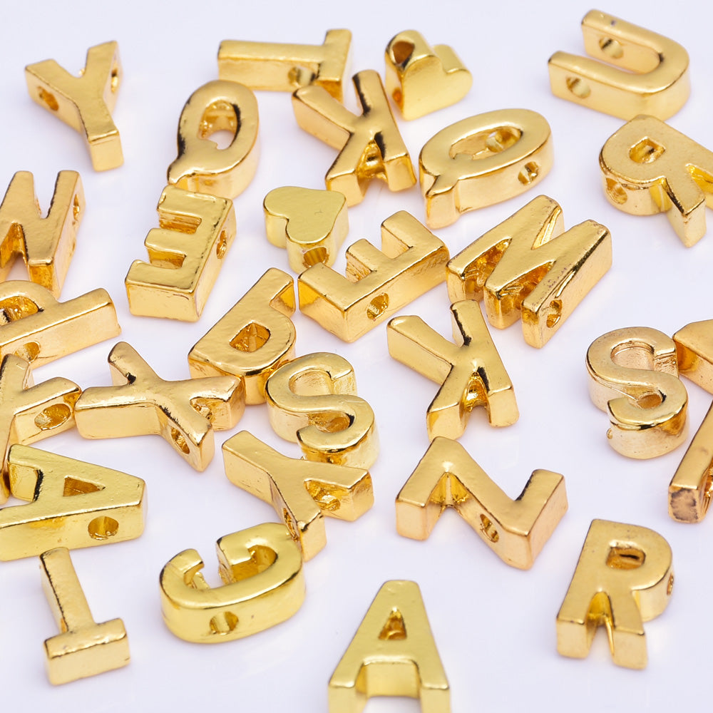 "Gold Alloy Letter Pendant Charm letter necklace Personalized Name bracelet Alphabet "" F "" 10*6.5*3.5mm 10pcs"