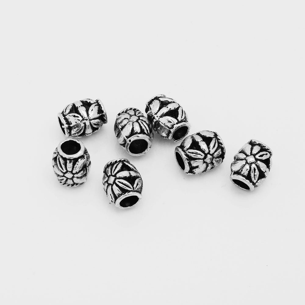 Tibetan Flower Beads,Diy Jewelry Buddhism Beads,Large Hole Spacer beads,Rondelle Beads,Diameter 7mm,Sold 50pcs/lot