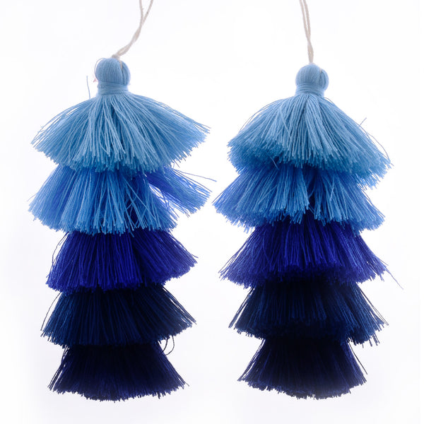 Wholesale Layered Tassel Pendant Five Tier Colorful Cotton Tassel for Earrings pendant handmade 2pcs 10192855