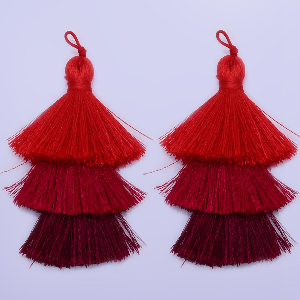Tiered Polyester Tassels Three Tier Tassel For Jewelry Making Ombre Tassels Triple Fringe Jewelry  2pc 10199759