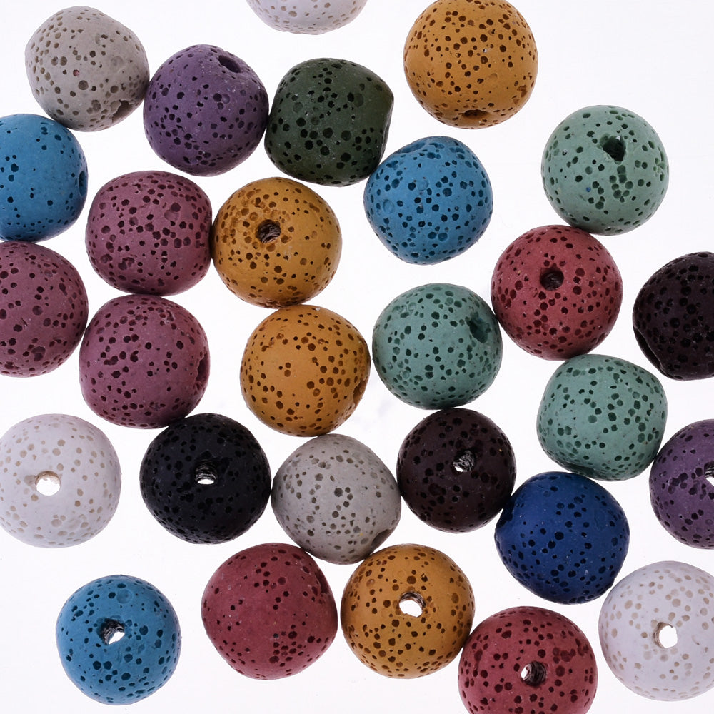 Round Lava Beads Earrings Bracelet Necklace Accessories 12mm 1.2mm hole mixed color 30pcs/lot