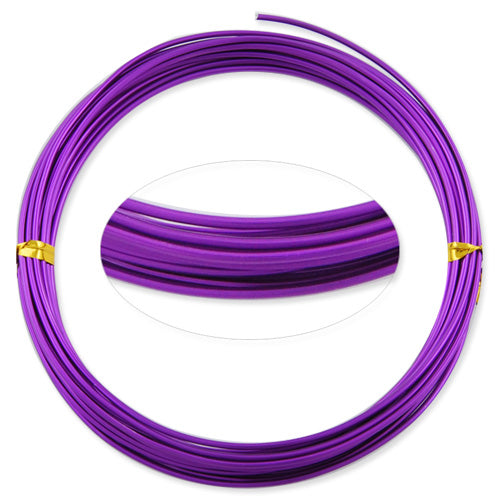 1.5MM Anodized Aluminum Wire, Purple Coated, round,5M/coil,Sold Per 10 coils