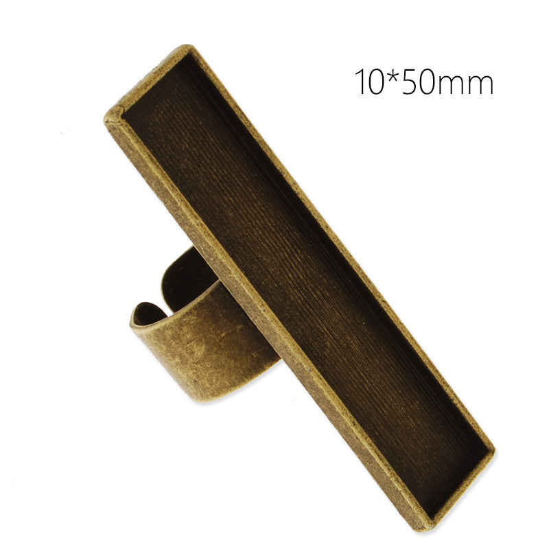 10x50mm antique bronze plated adjustable rectangle cabochon base setting ring,2 blanks,ring bezel, 10 pieces/lot