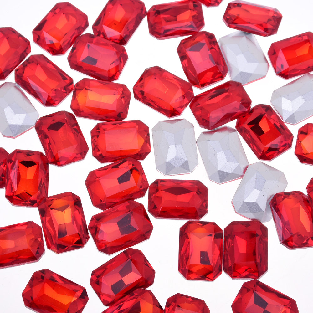 10x14mm Rectangle Pointed Back Rhinestones glass crystals beads wedding diy jewelry red 50pcs 10183356