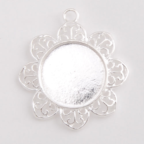 2013-2014 new arrived Silver Plated Flower Pendant trays,lead and nickle free,fit 20mm round glass cabocon,sold 20pcs per pkg