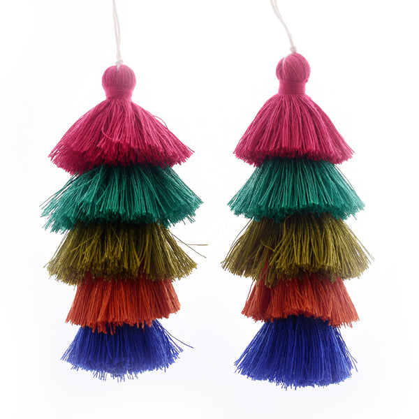 Wholesale Layered Tassel Pendant Five Tier Colorful Cotton Tassel for Earrings pendant handmade 2pcs 10192858