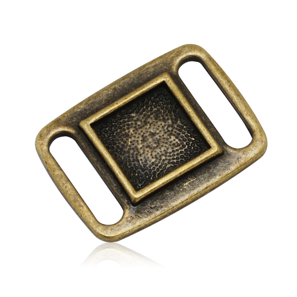 10x10MM Antique Bronze Blank Rectangle Slider border,Shoelace charms,slider frame Spacer,Bead Frame charms,zinc alloy filled,20pcs/lot