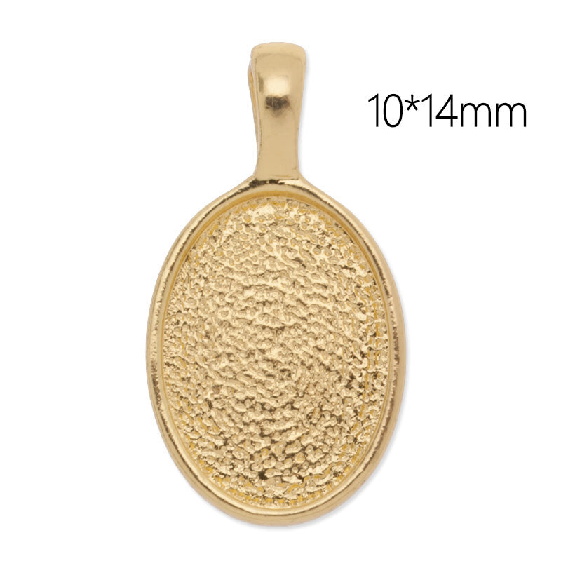 10x14mm Oval Pendant tray,Zinc Alloy Filled,Gold plated,20pcs/lot
