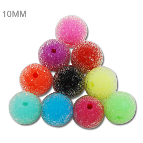 10MM Round Acrylic Pearl Bling Beads,Mixed Colors,Hole Size 2MM,Sold 200 PCS Per Package