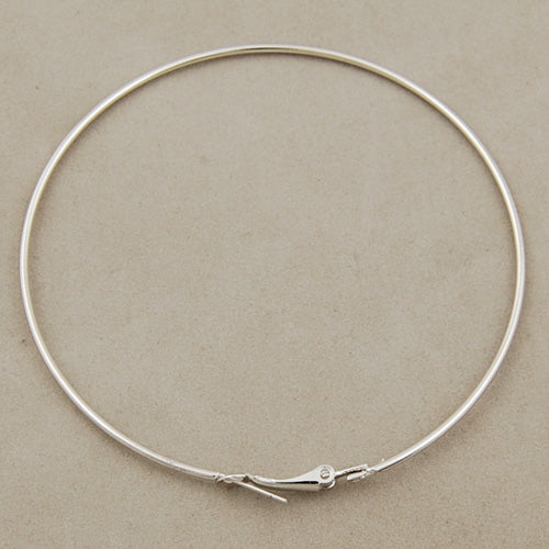 50 MM Hoop Earrings Wire,Silver Plated,Sold 100 PCS Per Package