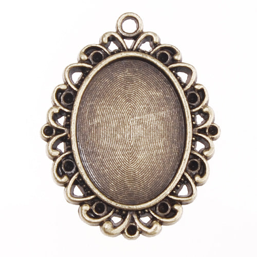 18*25MM Antique Bronze Plated Oval Pendant trays,lead and nickle free, sold 20pcs per pkg