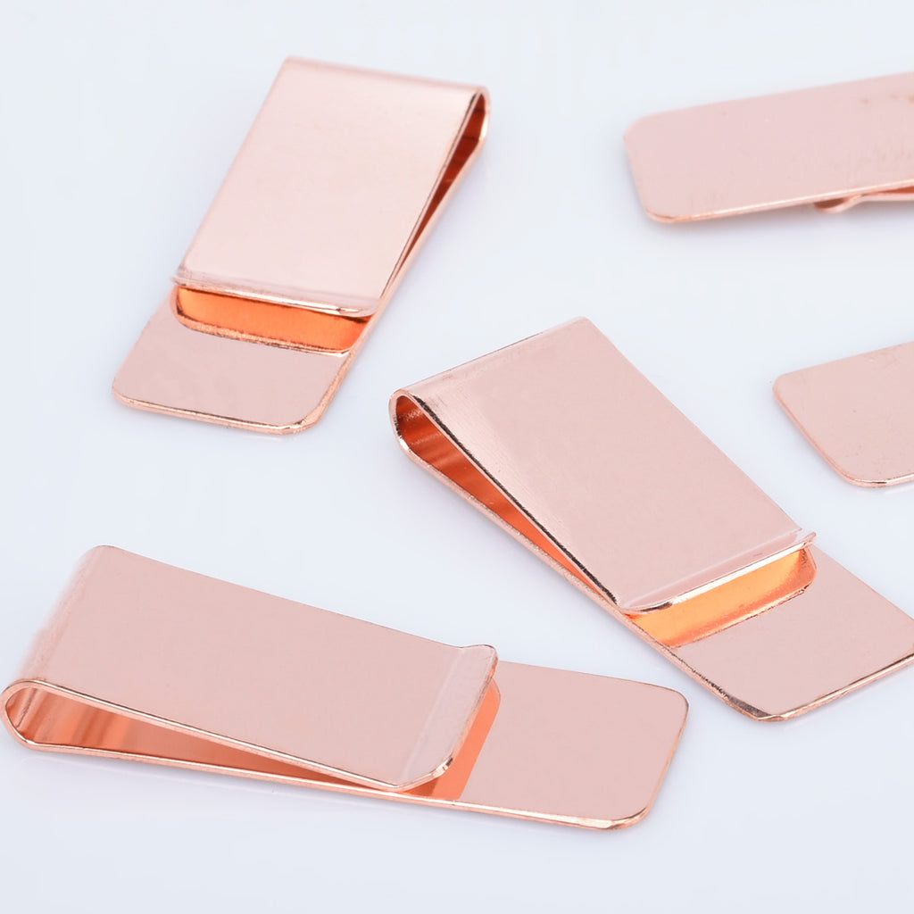 5 Wholesale Lots Money Clip Blank Metal Money Clip Fashion Gift Rose Gold 20x55mm