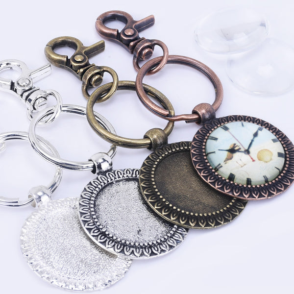 Zinc Alloy 25mm Round Sunflower Trays DIY Key Chain Pendant kits  Glass Tiles 5pcs/set