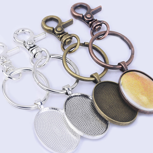 Zinc Alloy 30*22mm Oval Pendant Trays Oval Key Chain Kits split rings diy jewelry 5pcs/set
