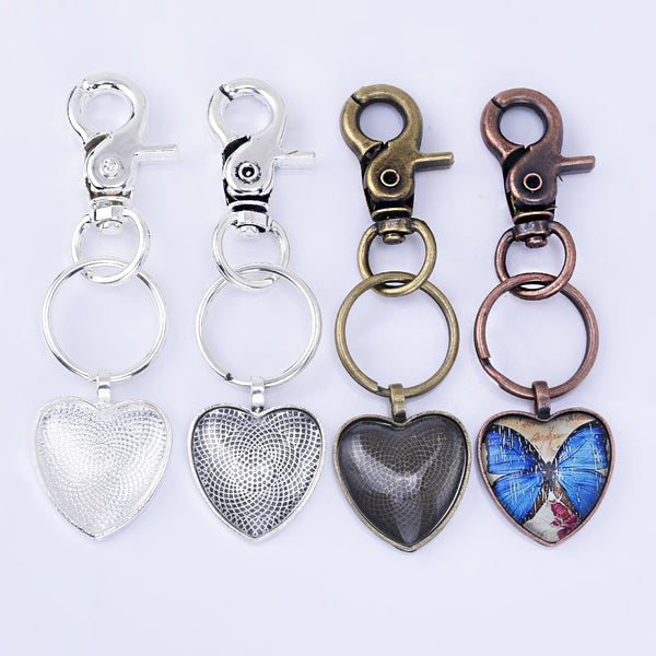 Zinc Alloy Key Chain Kits 25mm Heart Pendant Tray Kits heart Glass Setting 5pcs/set