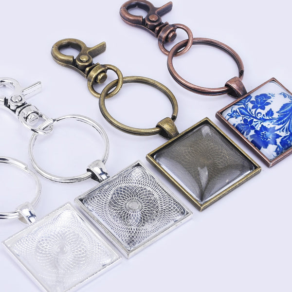 Zinc Alloy 25mm Square Craft Key Chain Kits pendant Trays with lobster clasp 5pcs/set