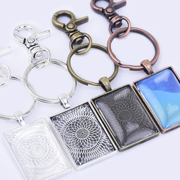 Zinc Alloy DIY Key Chain Pendant kits 21*31mm Mini Rectangle Pendant Trays  5pcs/set