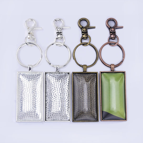 Zinc Alloy 25*50mm DIY Keychain Kits Craft Kits Key Rings Rectangle Glass 5pcs/set