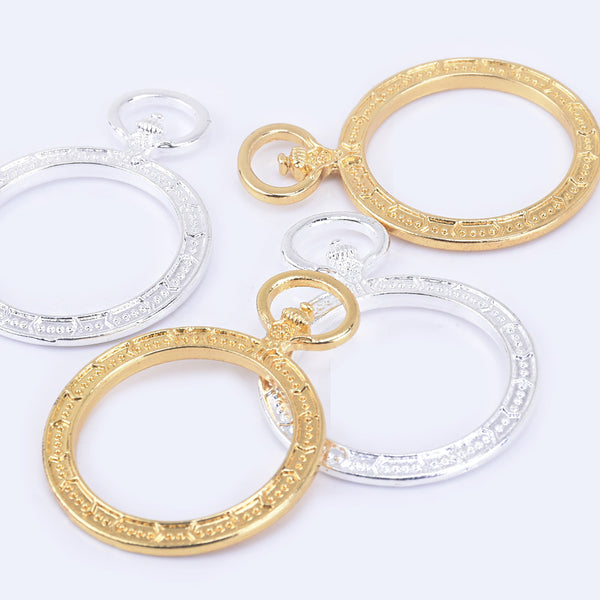 45*33mm Zinc alloy Round resin charms Open Back Pendant Tray Setting Bezel for Resin 10pcs 102319