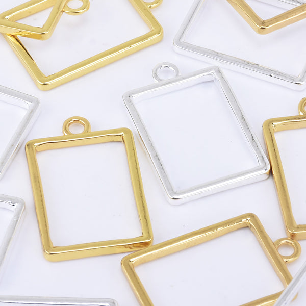 32*24mm Zinc alloy Open Back Bezel Pendant Rectangle Resin bezel charms open back charms 10pcs