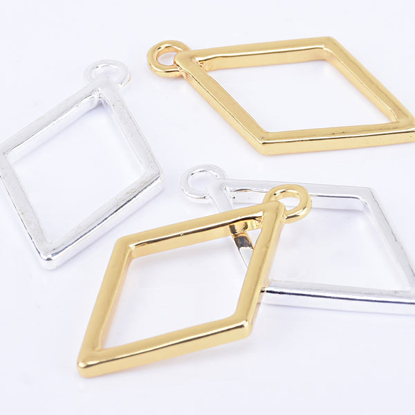 39*23mm Zinc alloy Rhombus Pendant Open Back Bezel Charms resin bezel open frame 10pcs 102322
