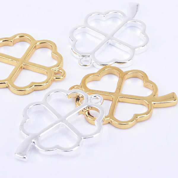 33*24mm Zinc alloy Four Leaf Clover Open Back pendant Open Back Resin charm 10pcs 102324
