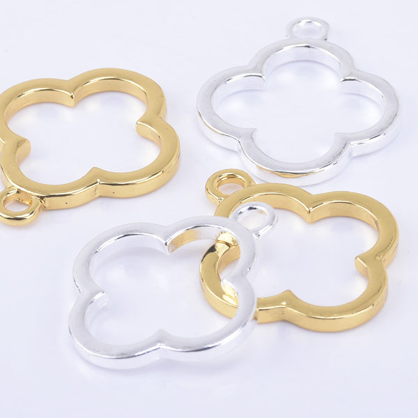 24*24mm Zinc alloy Simple four-leaf clover open back bezel charms frame pentant 10pcs 102325