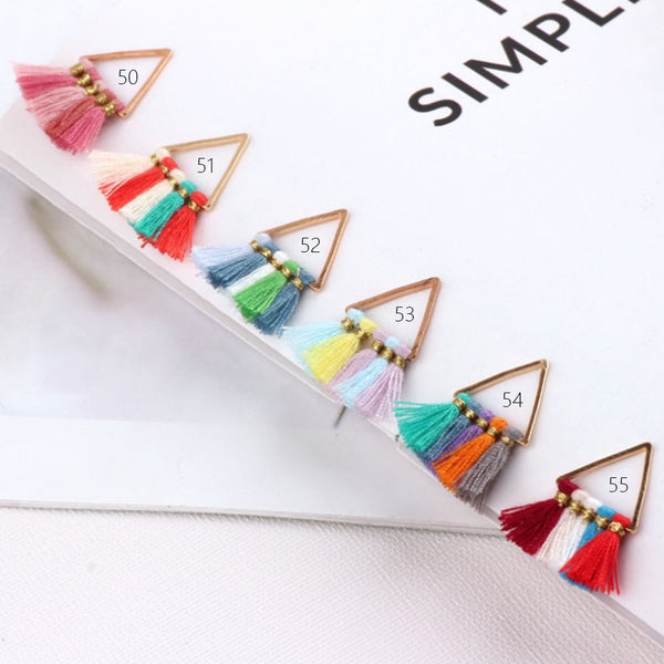 15*15mm Small Triangle Fan Tassels Cotton Tassel Earrings Perfect for pendants 2pcs 102354