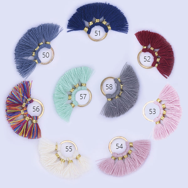 18*27mm Cotton Tassels Small Round Fan Tassels charm Hoop Earring Pendant Wholesale tassels 2pcs