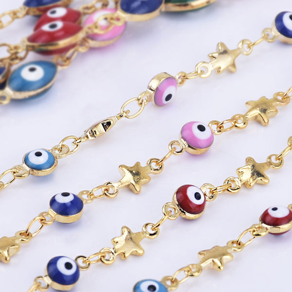 4mm Copper Evil Eye Coin Chain round Colorful Evil Eye Chains Rosary chain By THE YARD 10236004