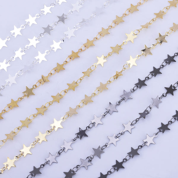 7*7mm Star Chain Copper Flat Stars Accessory DIY Necklace Little Star Chains By THE YARD 102361