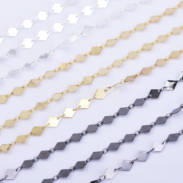 High Quality 6*8mm Marque Chain Copper Rhombus Disc Chain Jewelry findings Chain By THE YARD
