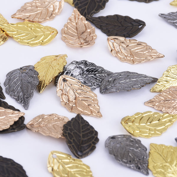 10*18mm Brass Leaf Pendant Charm Metal Charms Wholeslae perfect for necklace pendant 50pcs