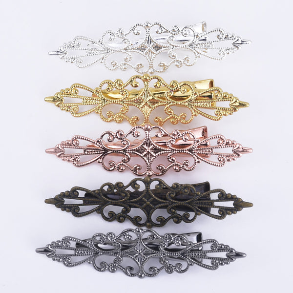 15*57mm Brass Hair Barrettes Clip Hair Clip Filigree Barrette Blank Hair Accessory 20pcs 102385