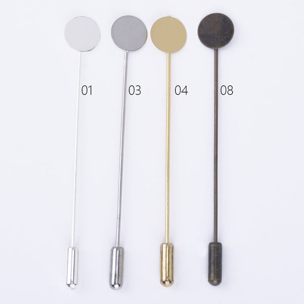 Brass Stick Pin Clutch Brooch 70mm long with 10mm Pad Craft Pins DIY Brooch Finding 50pcs