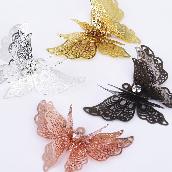 25*35mm Brass 3D Butterfly filigree pendant Hollow butterfly jewelry charms Supply 10pcs