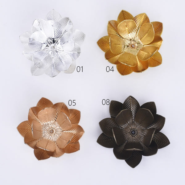 26mm Brass Three layer Flower Bead Caps Flower End Caps Beads Finding Jewelry 10pcs