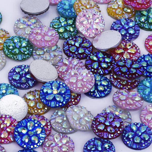 12mm Druzy Cabochons Resin Embellishment Jewelry Supplies Flatback Mix Colors 50pcs 10239749