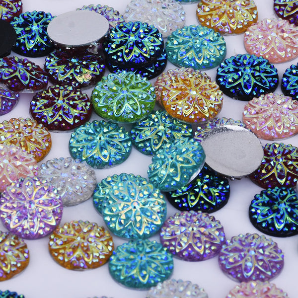10mm Mixed Round Druzy Resin Cabochon flat back resin cabochon cameo craft 50pcs 10239849