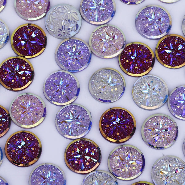 12mm Faux Druzy Floral Round Resin Cabochon flat back Glitter cabochon Mixed 50pcs 10240049