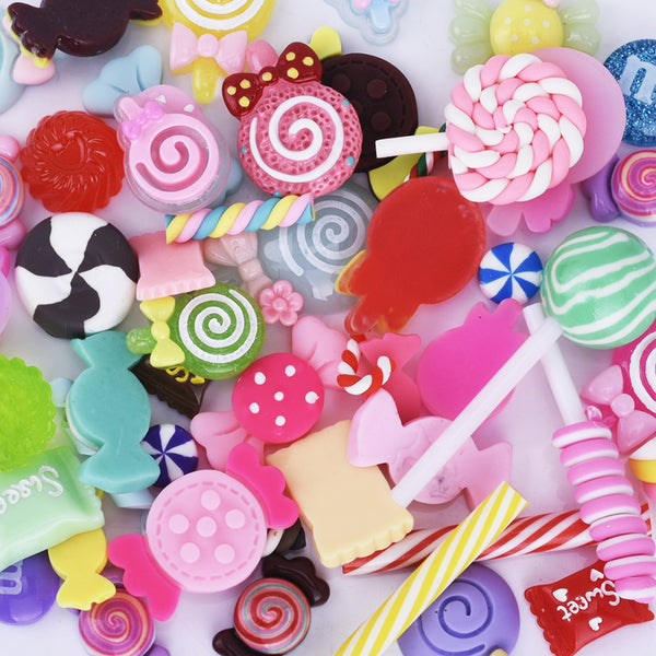 Kawaii Assorted Cabochon Mix Resin Polymer Clay Rainbows Lollipops Ice Cream Candy 50pcs 10240149
