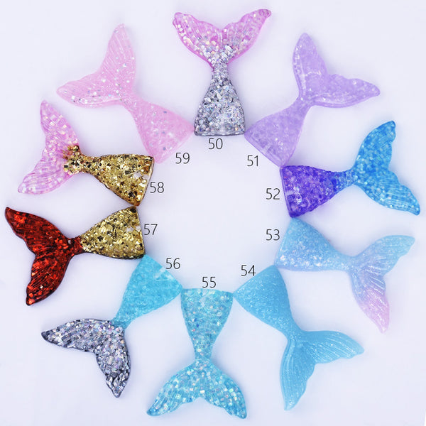 Mermaid Resin Tail Embellishment Mermaid Tail Charms DIY Headband Supply 10pcs 102402