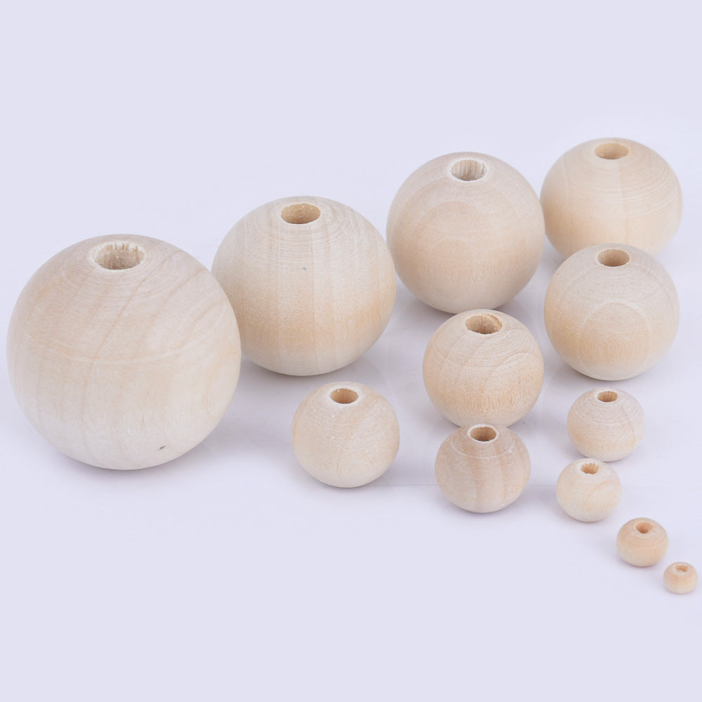 dolls, Large Plain Natural Unfinished Wooden Beads Choice of Size Jewellery