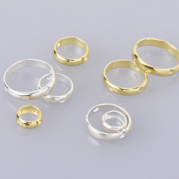 Sterling Silver Beads Frames for 4mm 6mm 8mm 10mm beads Ring Connectors 2 Holes Linker Spacer Beads Hoop 2pcs