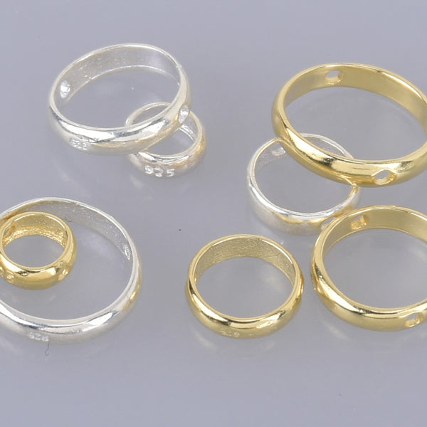 Gold Round Bead Frame Spacer Beads for 4mm 6mm 8mm 10mm beads Rings Connectors Double Lateral Holes 2pcs