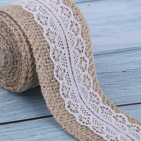 Embroidered Linen Lace Natural Linen Lace Trim Sewing lace trim DIY projects and chic decor 2 meters/roll 1roll 102473