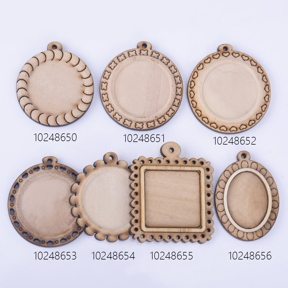 Wooden Pendant Tray base blank Round/Square/Oval Base Bezels Trays Jewelry Accessories 10pcs 102486