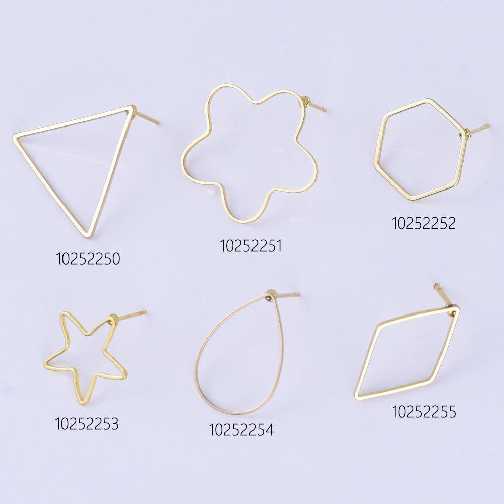Brass Geometric Empty earrings studs Simple Open Shaped Earrings jewelry minimalist geometric earring stud 10pcs 102522