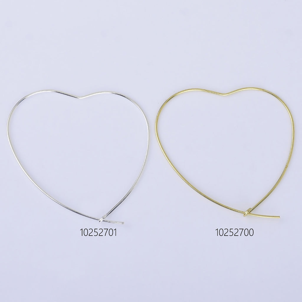 0.6*40mm Brass Heart Hoop Earrings Heart Earrings Minimalist Earrings jewelry accessory 20pcs 102527