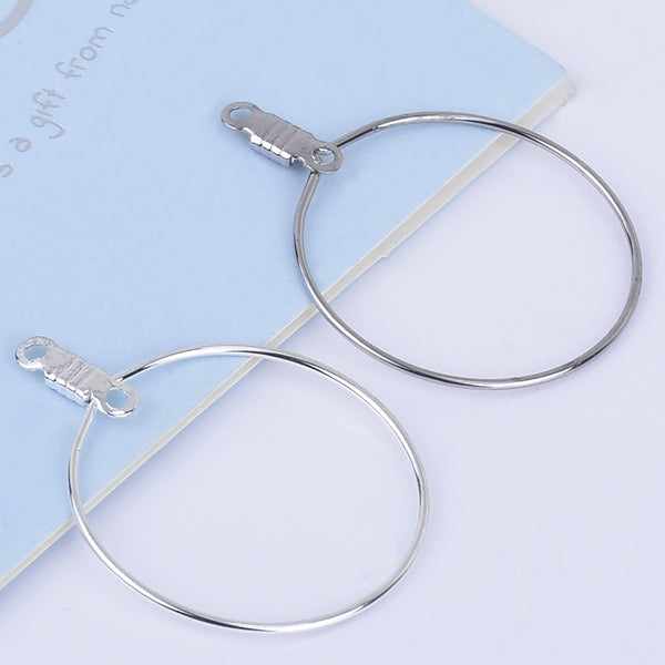 25mm Brass circle wire Round connector Earring hoops Lever Back Earring Wires Connector Findings 20pcs 102530